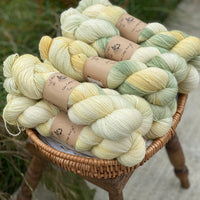 Variegated yellow and green yarn