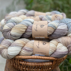 Variegated brown and blue yarn