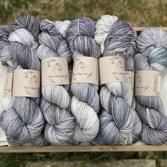 Variegated purple, blue and grey yarn