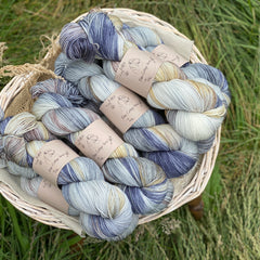 Variegated blue and brown yarn