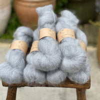 Blue-grey fluffy yarn