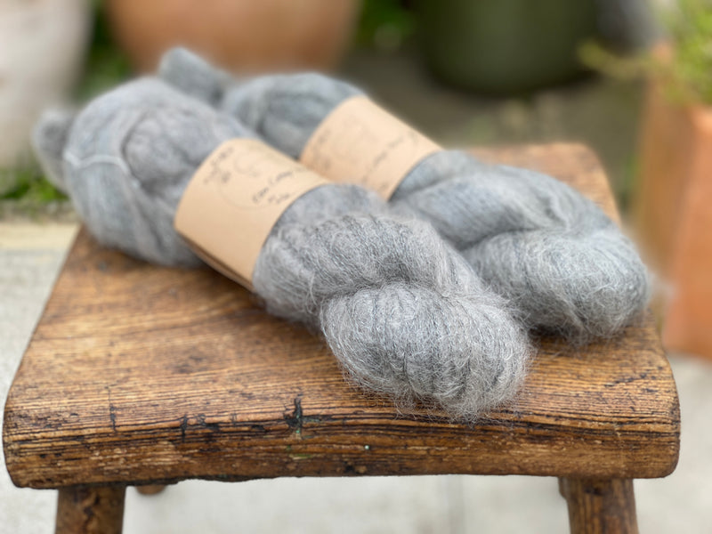 Grey fluffy yarn