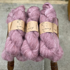Dark pink fluffy yarn