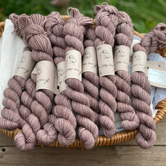 Brown mini skeins of yarn