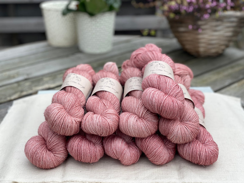 Pink yarn with silver sparkle