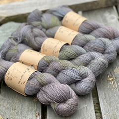 Variegated grey, green and brown yarn