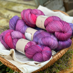 Variegated blue, pink and purple yarn