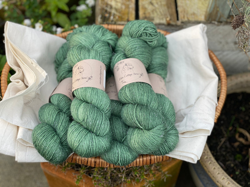 Green yarn with silver sparkle