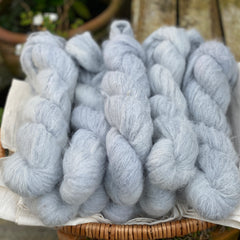 Blue fluffy yarn