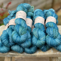 Blue yarn with green flashes