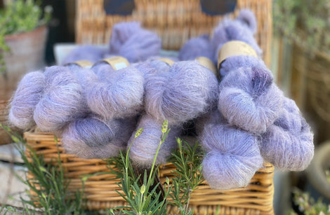 Fluffy purple yarn