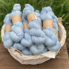 Pale blue yarn in a white wicker basket. The basket sits on a wooden stool with a backdrop of grass.