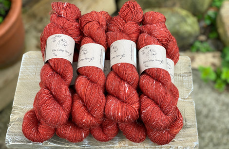 Deep red yarn
