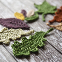Crochet leaves in autumnal colours