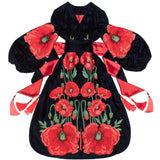 Navy Blue Velvet Kaftan with embroidered poppies