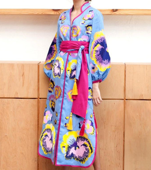 Blue Kaftan with embroidered pansies