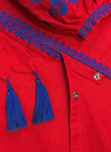 Long embroidered red kaftan