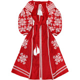 Red Boho style kaftan with embroidery