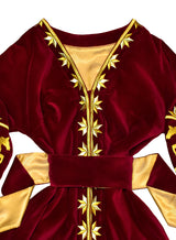 Velvet kaftan with golden horses