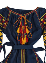 Dark blue Kaftan with embroidery