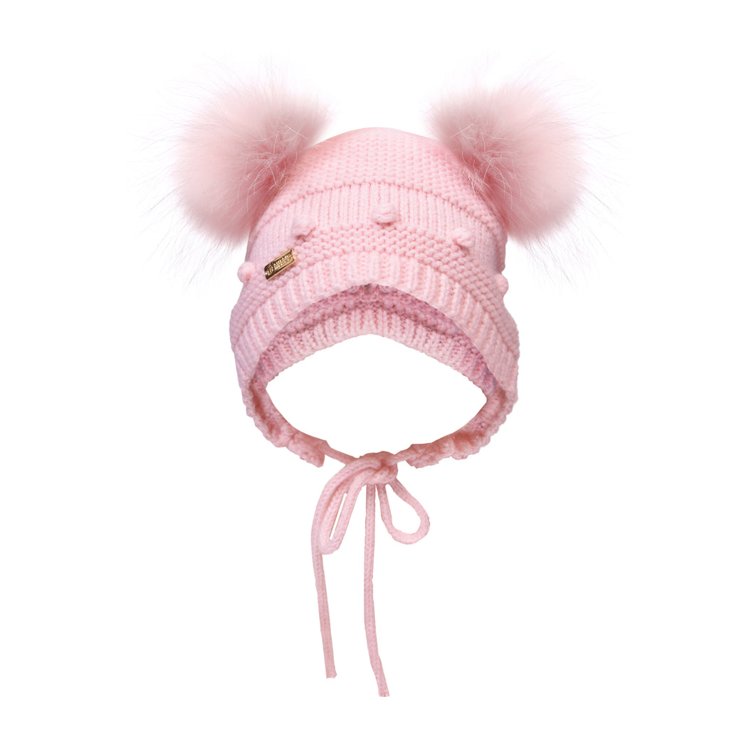 Baby Bubble Knit Double Pom Pom Hat with tie