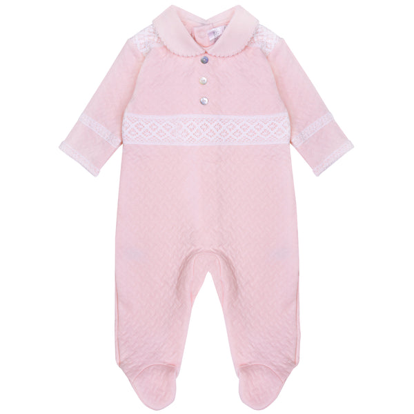 Pima Cotton Quilted Baby Grow Pink