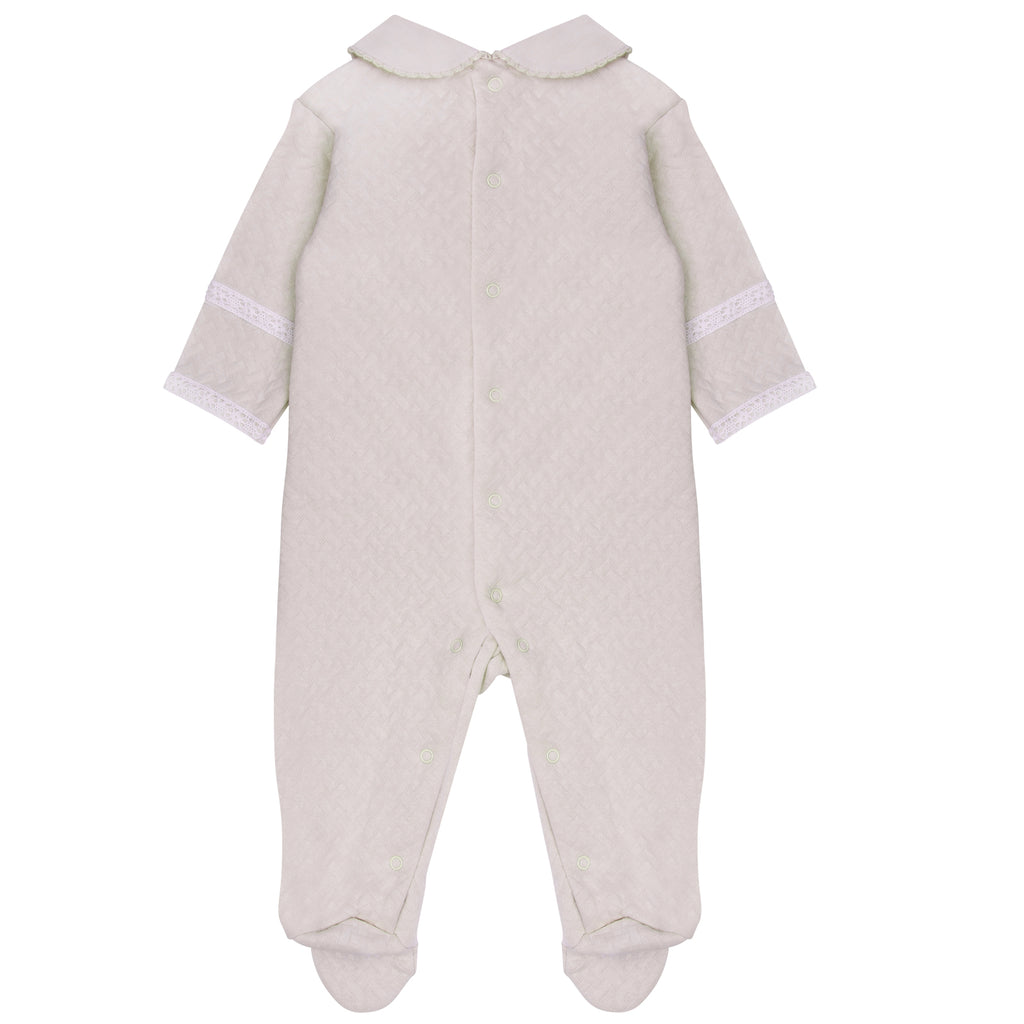Pima Cotton Quilted Baby Grow Nude