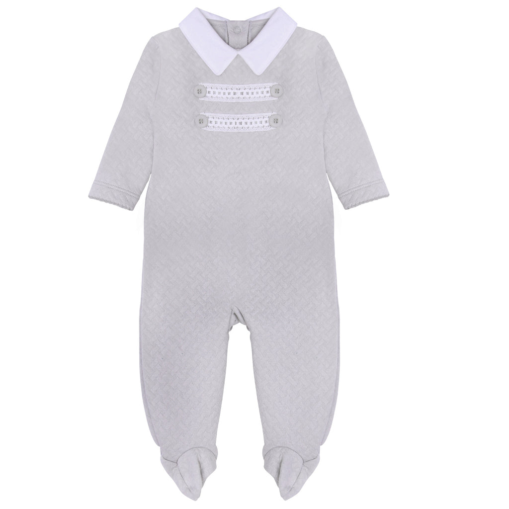 Pima Cotton Quilted Baby Grow Grey