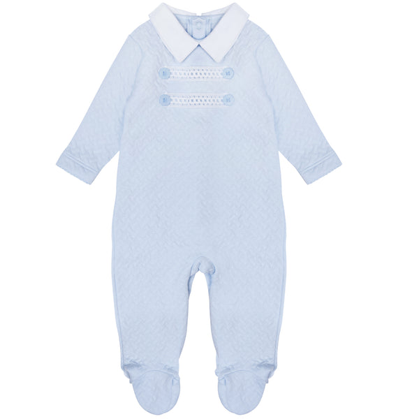 Pima Cotton Quilted Baby Grow Blue