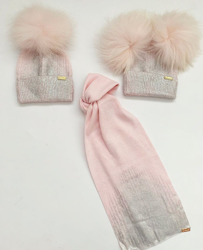 Angora 'Florence'  pompom hat and scarf set / Pink