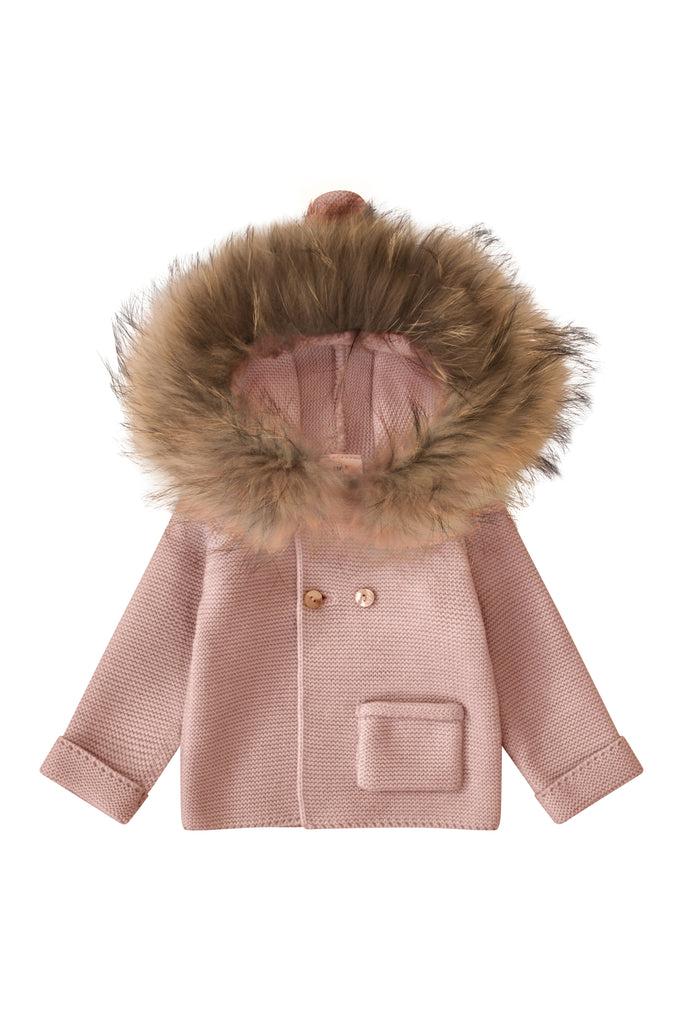 Bobble Babies Knit Jacket with fur trim hood - PINK