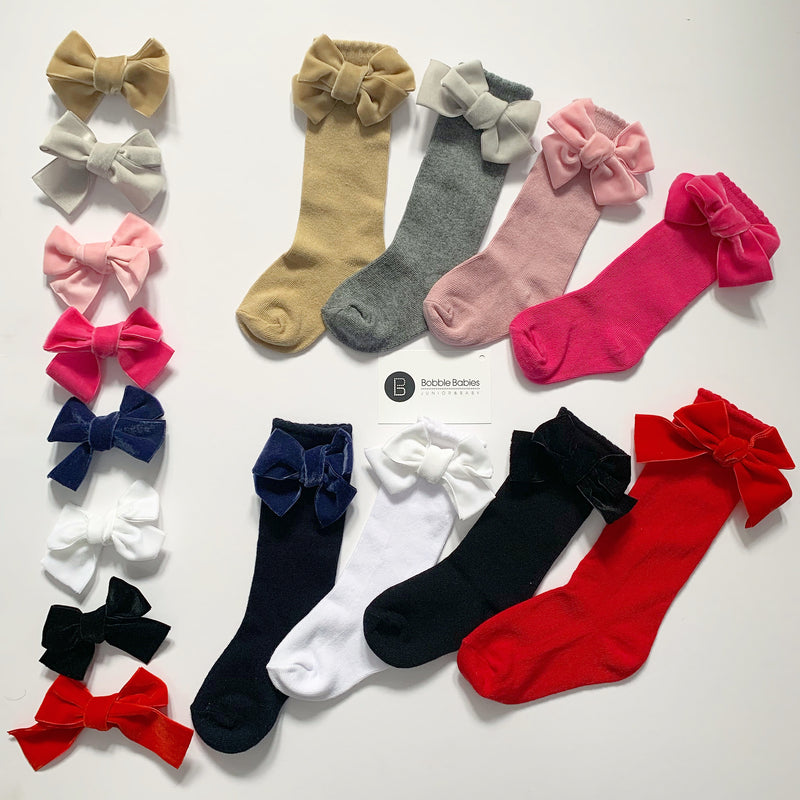 Bobble Babies knee high socks with velvet bow