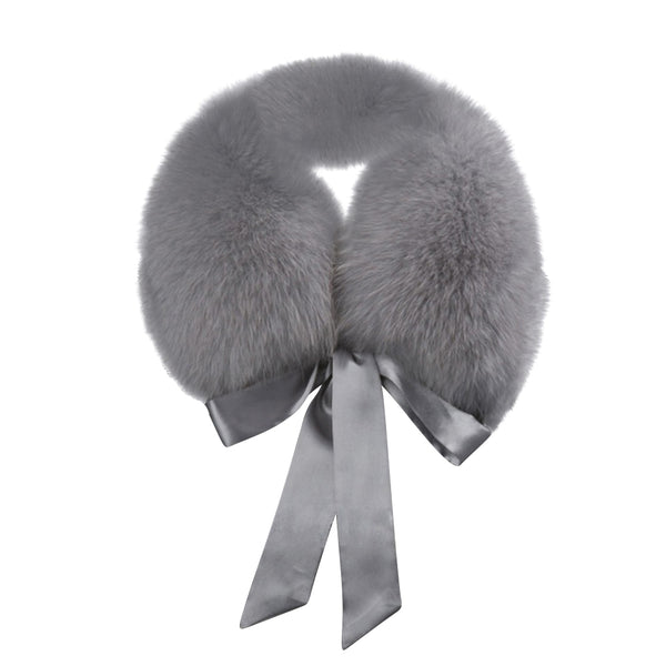 Fur trim collar with satin bow detail