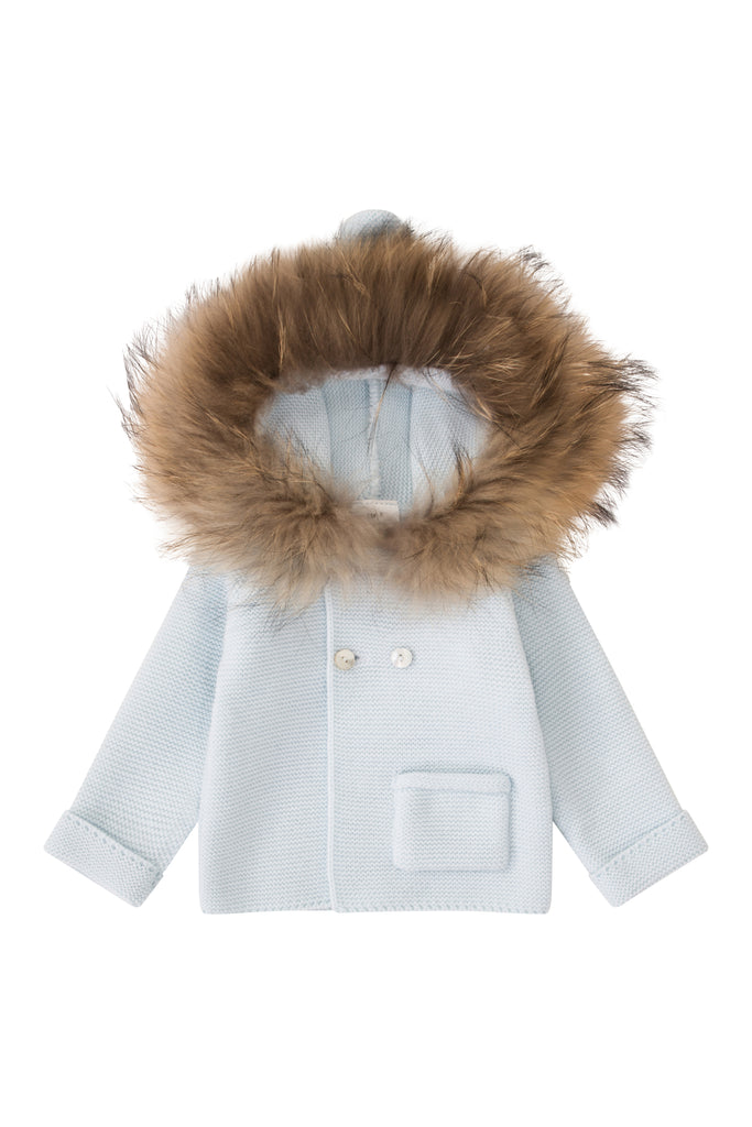 Bobble Babies Knit Jacket with fur trim hood - BLUE