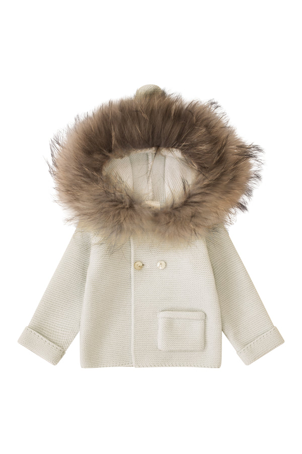 Bobble Babies Knit Jacket with fur trim hood - CREAM