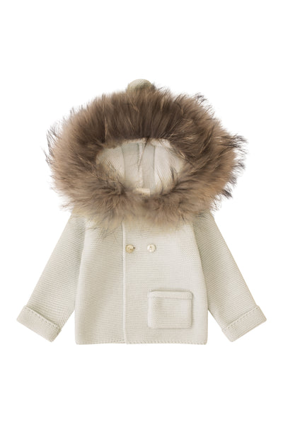 Luxury Knit Jacket with fur trim hood/ CREAM