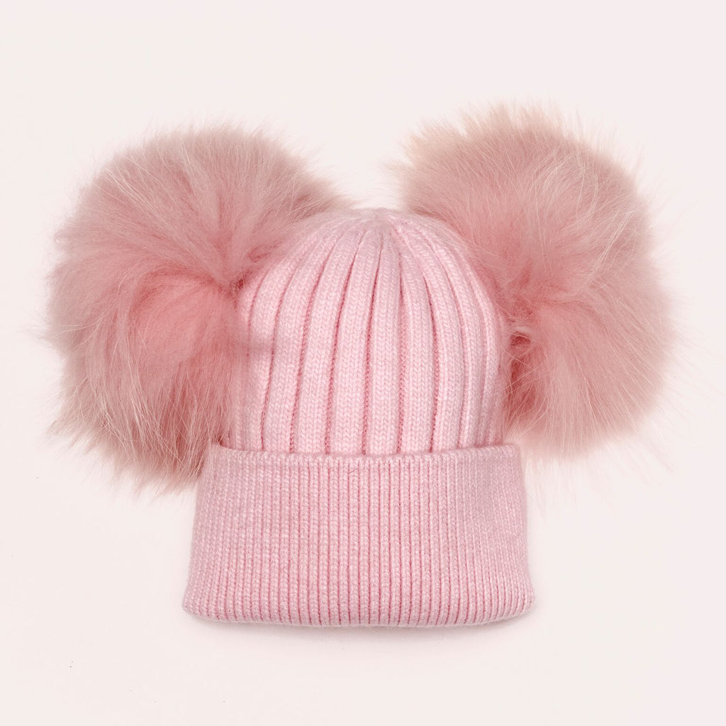 Luxe Angora double pom hat in Pink