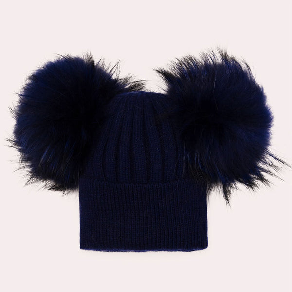 Luxe Angora double pom hat - NAVY BLUE