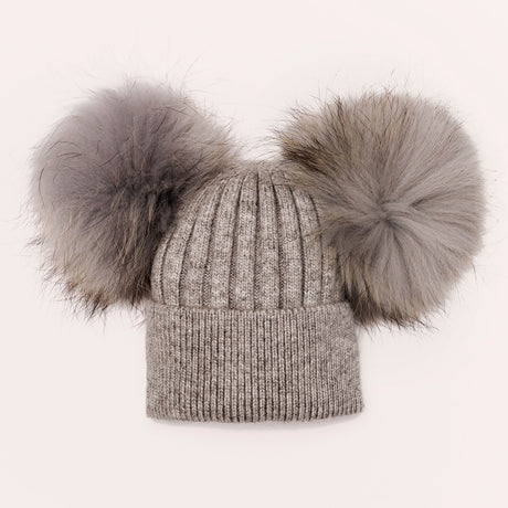 Luxe Angora double pom hat - GREY