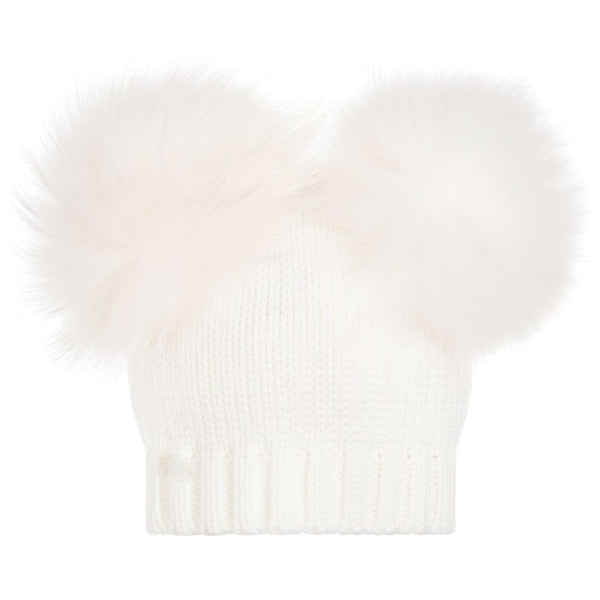 Newborn Double Pom Hat in Cream