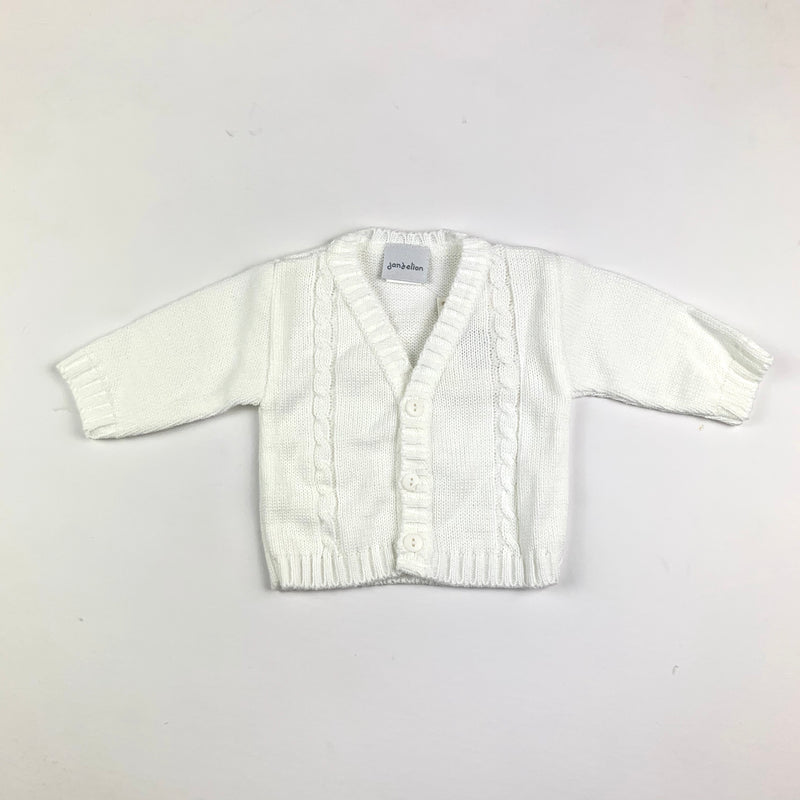 White cable knit baby cardigan