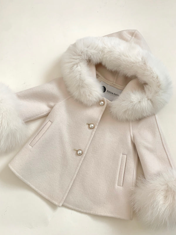 Cashmere Jacket with natural fur trim hood and cuffs - IVORY
