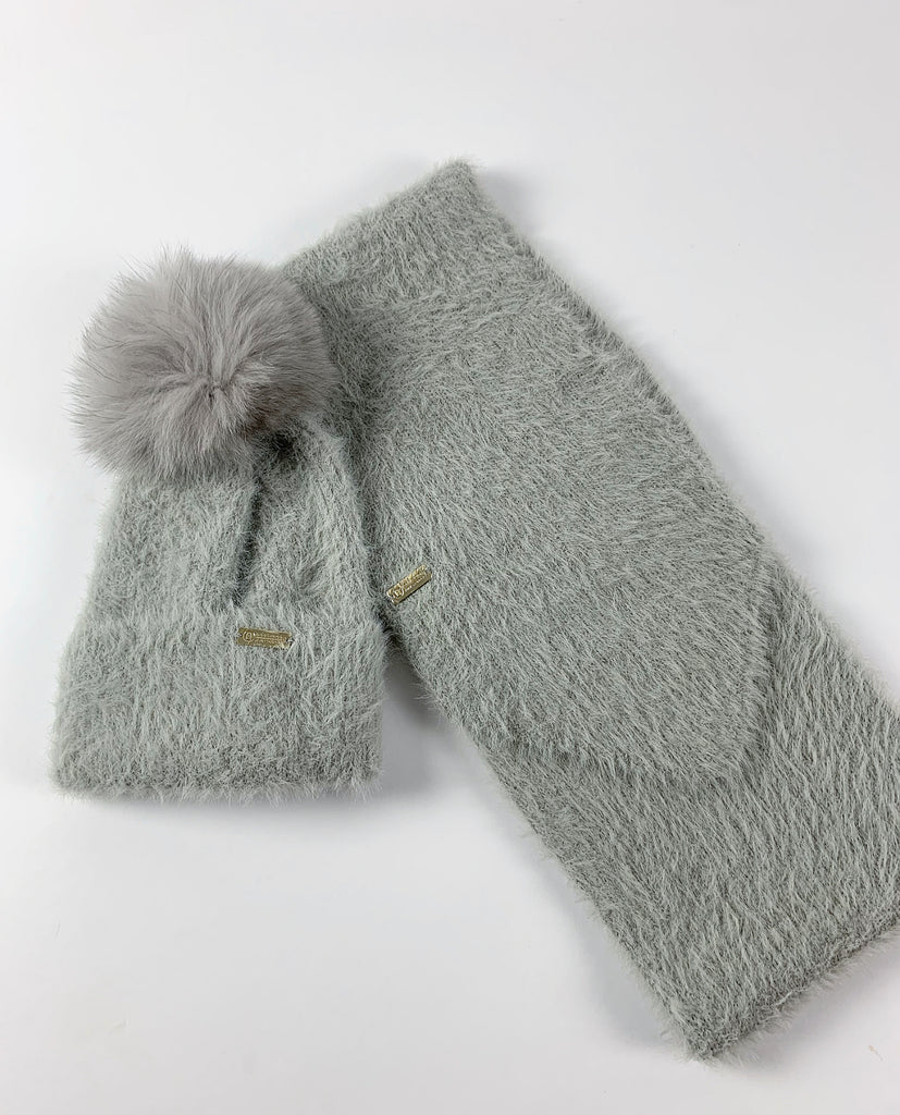 Fluffy Cashmere Hat & Scarf Set/GREY