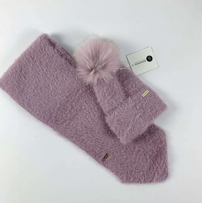 Fluffy Cashmere Hat & Scarf Set/ DUSTY ROSE