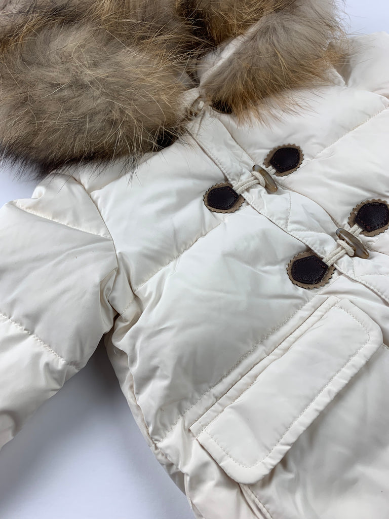 Bobble Babies padded jacket with fur trim hood / Ivory