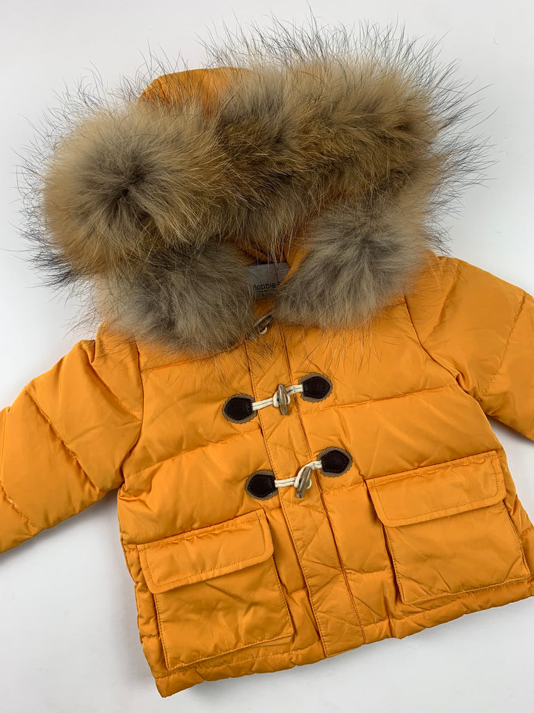 Bobble Babies padded jacket with fur trim hood / Mustard