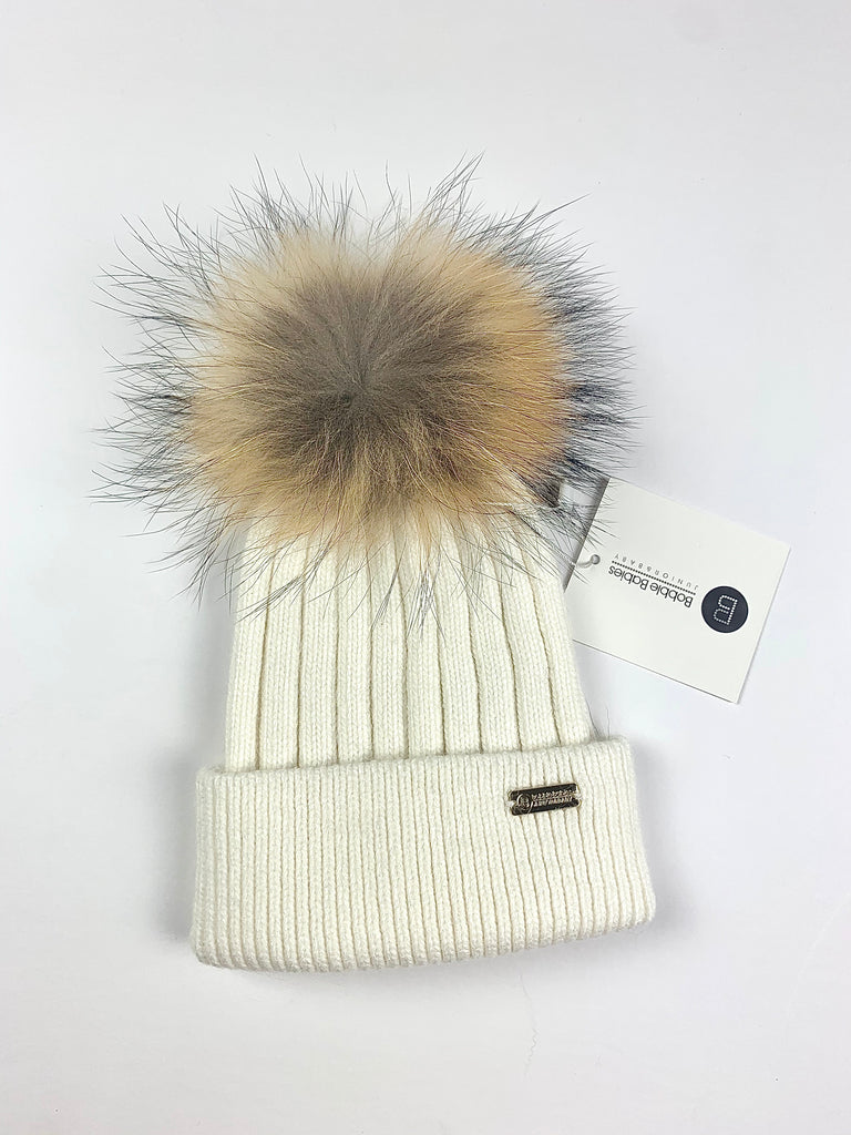 Cream/ White Angora single pom hat
