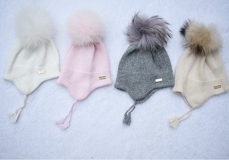 Angora Single pompom tassel hat