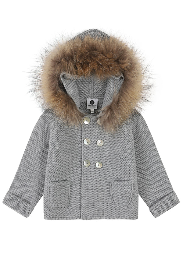 Bobble Babies knitted jacket in Steel Grey  / natural hood trim