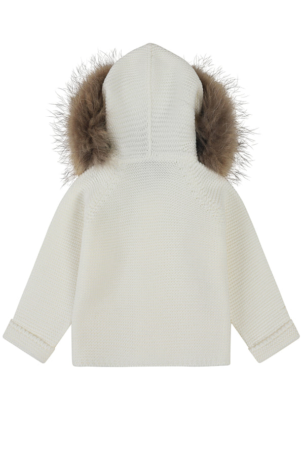 Bobble Babies knitted jacket in ivory / natural hood trim